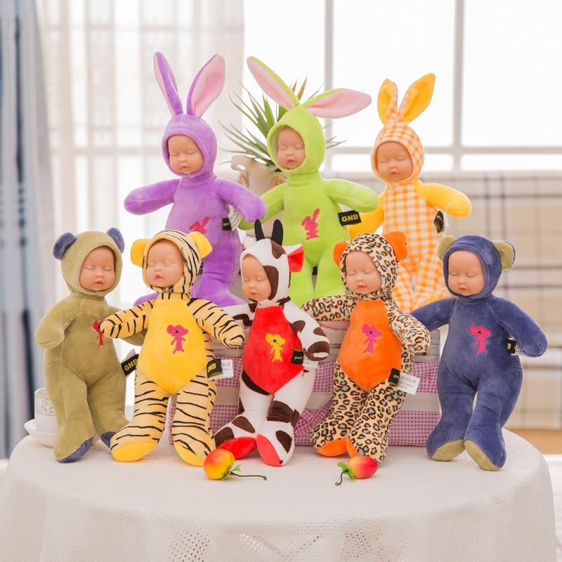 Kawaii Baby Sleeping Toy Doll Rabbit Plush Doll Soft Silicone Animals Stuffed Playing Toys Kids Puppet giochi bambini Maumet 20pcs kawaii plants vs zombies stuffed plush toys games pvz soft doll toy