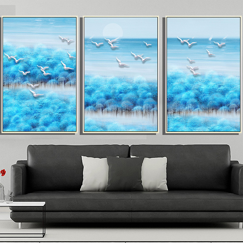 Unframed HD 3 Canvas Painting Dove Forest Landscape Giclee Wall Decor Prints Wall Pictures For Living Room Wall Art Decoration