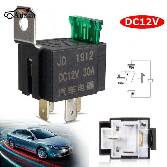 New Fused On/Off Car Motor Automotive Fused Relay DC 12V 30A 4 Pin 4P SPST Metal