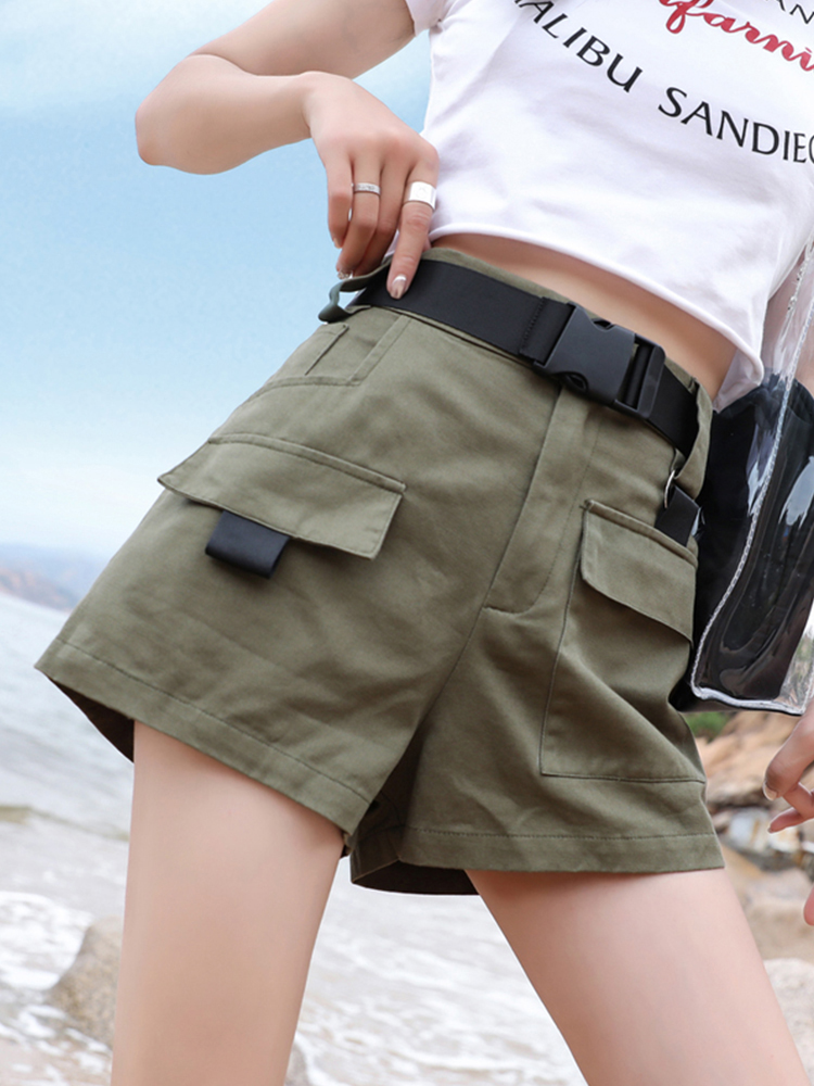 Shorts Women Safari Style Hot Elastic Waist Cargo Short Pants With Belt 2019 Plus Size Summer Army Green High Waist Shorts