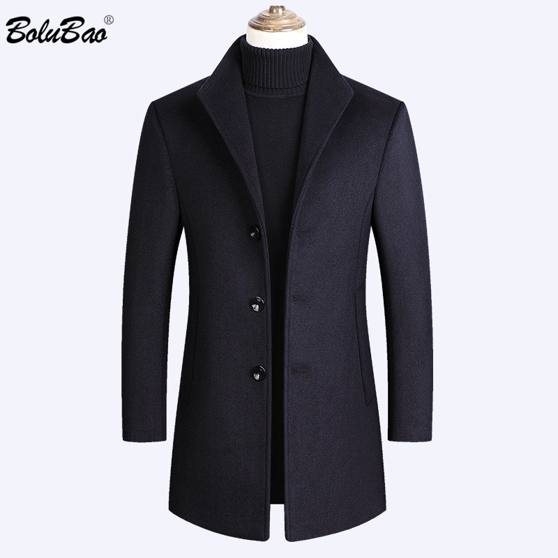 BOLUBAO Wool Coat Long-Section Autumn Men's Casual Winter New Solid Tops Blends