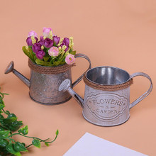 Watering Kettle Shaped Hanging Rattan Planter Bucket, Candy Color Flower Plants Pot, Home Wedding Balcony Decoration(China)
