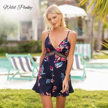 WildPinky Women Romper Print Hollow Out Jumpsuit Summer Short Overalls Jumpsuit Female Bow Tie Up Back Spaghetti Strap Playsuits open back bow tie waist plaid jumpsuit