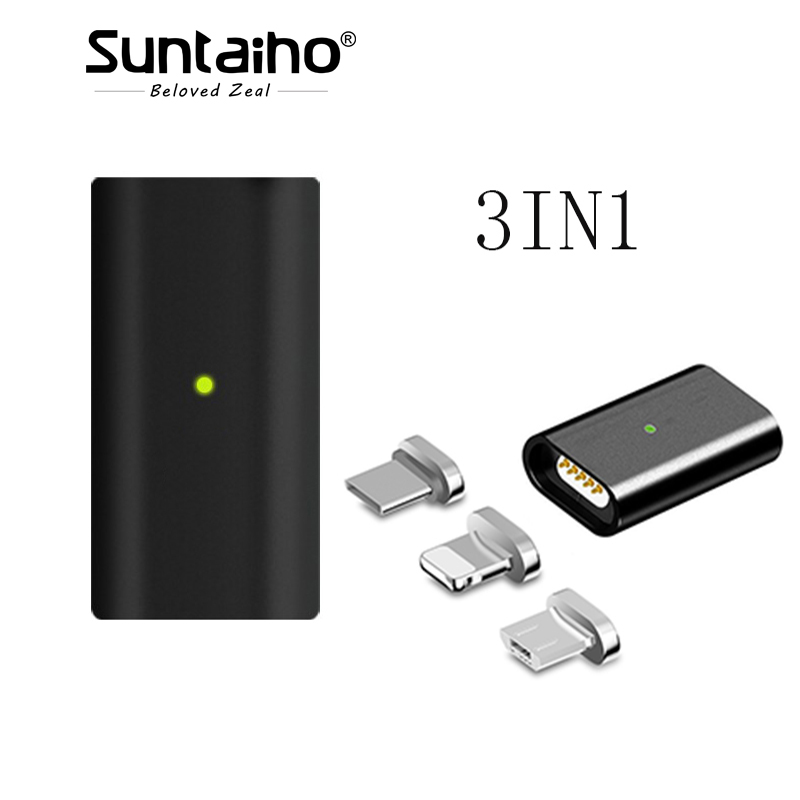 Suntaiho Magnetic cable for Samsung S9 1+6 micro USB Conver to Android iOS Type c Magnetic Charging Cable for iphone charger