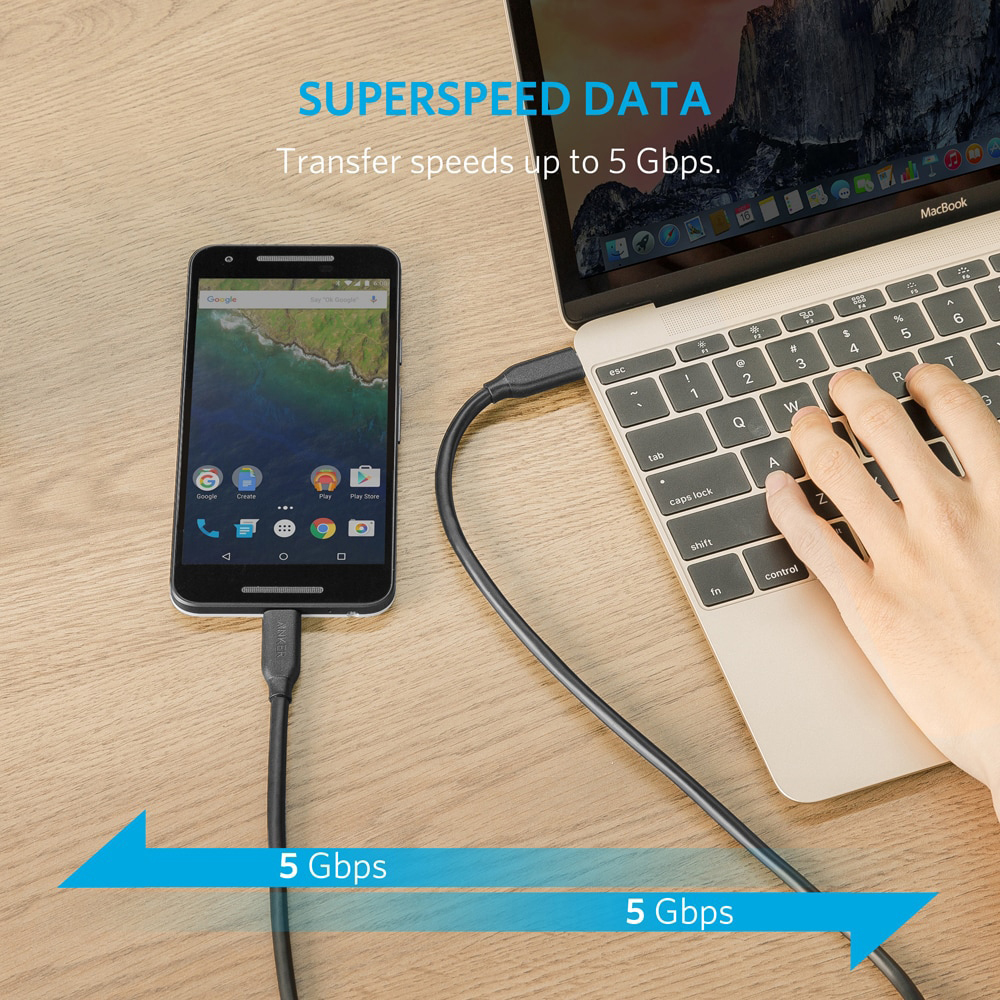 Anker Powerline USB-C to C 3.1 Gen 1 Cable,Power Delivery for USB Type-C Devices Galaxy,Pixel,iPad Pro 2018,MacBook,Matebook etc