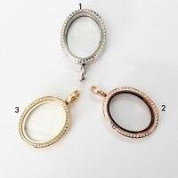 Stainless steel oval kính từ tính crystal nổi mề đay mặt dây chuyền living memory nổi mề đay quyến rũ đối với vòng c