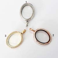 Stainless steel oval magnetic glass crystal floating locket pendant living memory floating charm locket for necklace