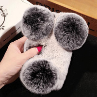 Luxury Fur Ball Gift Cover Woman Lady Fluffy Winter Warm Wool Rabbit Hair Gift Case For