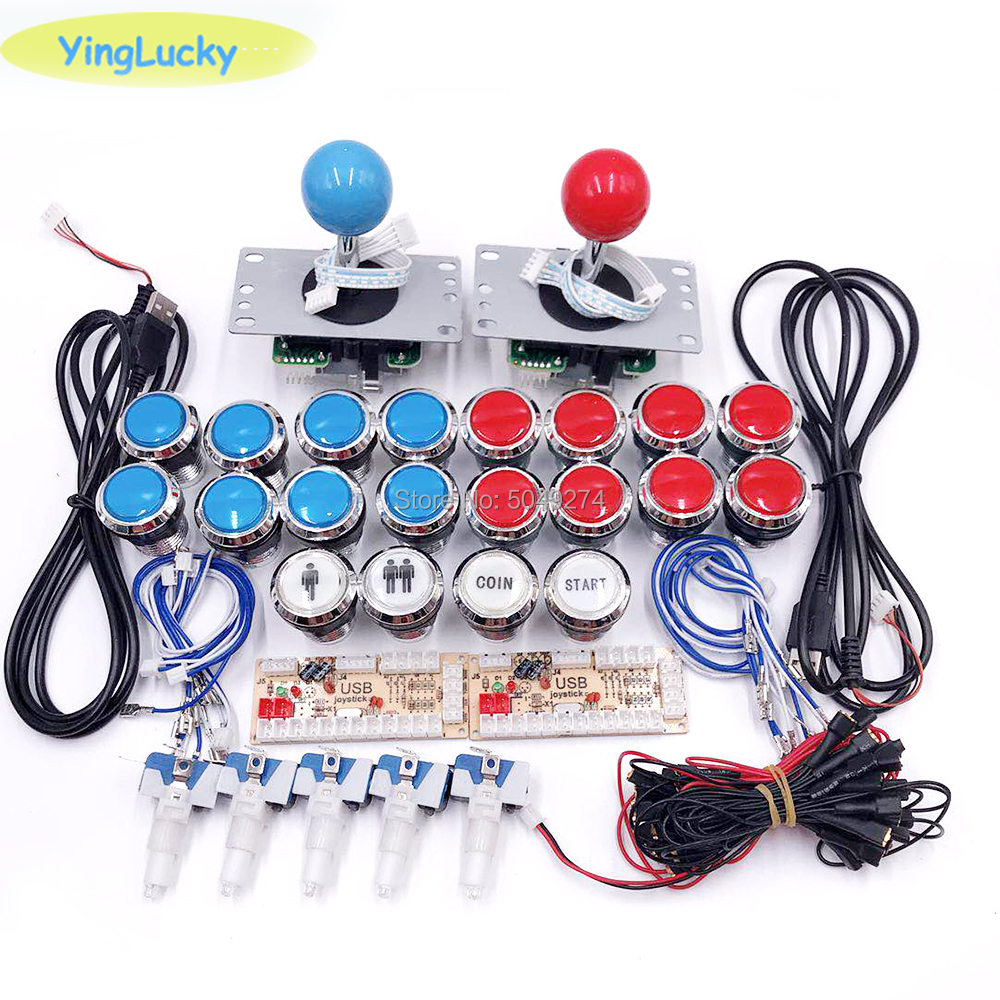 Arcade Joystick DIY Kit Zero Delay Arcade DIY Kit 2 Players Keyboard USB Encoder To PC SANWA Joystick +LED Push Buttons
