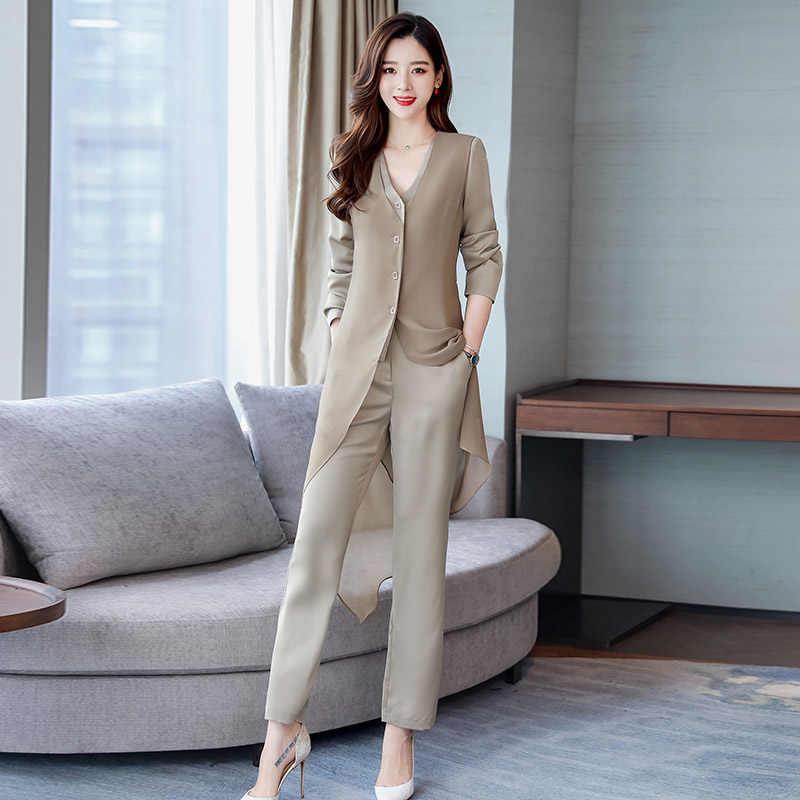 Alta calidad 2019 primavera trajes de dos piezas conjunto de manga larga tops blusa camisa y Pantalones