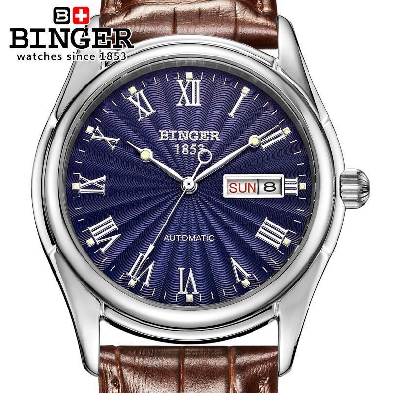 Switzerland men's watch luxury brand Wristwatches BINGER luminous Mechanical Wristwatches leather strap Waterproof B106-6 дисковая пила диолд дп 2 1 210