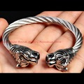 Wholesale Or Retail! New Arrival 316L Stainless Steel Silver Tiger End Twist Silver Tone Wire Cable Wristband Cool Mens Jewelry