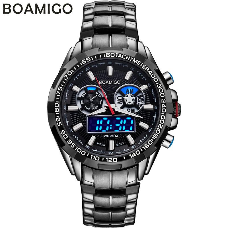 Prix pour BOAMIGO de luxe hommes sport montres casual marque militaire double affichage LED numérique montres chaude quartz en acier étanche montres
