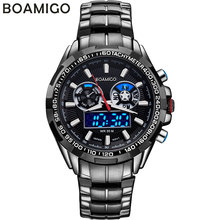 BOAMIGO luxury men sport watches casual brand military dual display LED digital watches hot quartz waterproof steel wristwatches