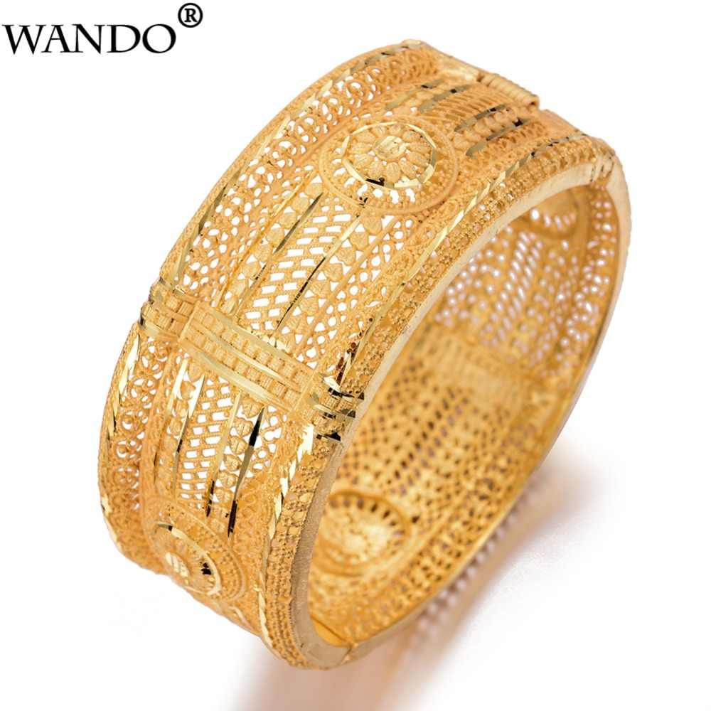 Wando Large Grand luxe Open Bracelets&Bangles for Women/Girl Dubai France Wedding Bangles Bracelet Middle East  jewelry gift