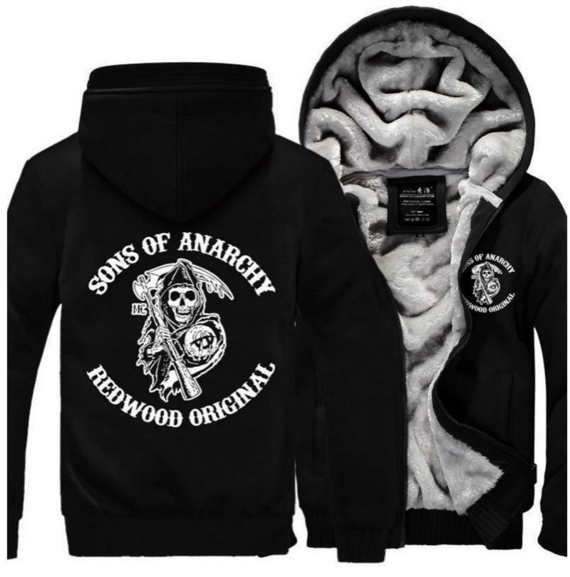 TV Sons of Anarchy Logo Print SOA Man Zipper Liberalism Coats Casual Sweatshirts Winter Thickened Punk Hoodies Jackets