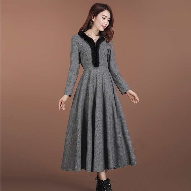 Twods 2016 New Autumn And Winter Long Wool Dress Fur Collar Grey Maxi Swing Warm Plus Size In Dresses From Women S Clothing