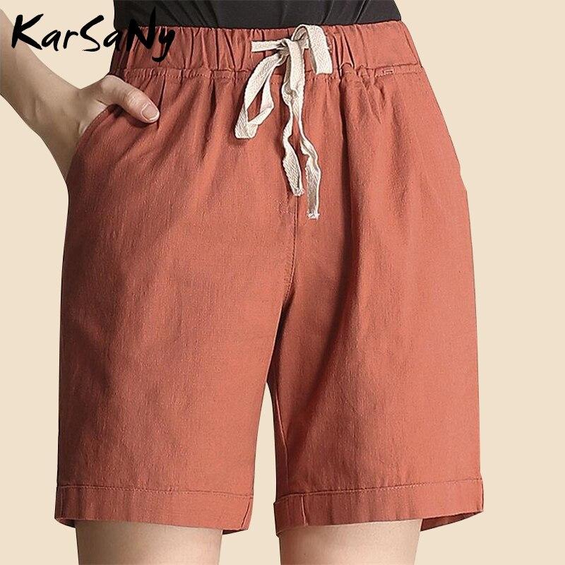 KarSaNy Summer Short Pants For Women Linen Elastic Waist Pockets Ladies Trousers White Wide Leg Pants High Waist Linen Trousers
