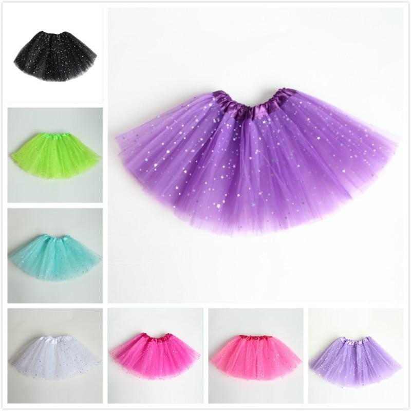Kids Girl Star Glitter Dance Tutu Skirt Sequin With 3 Layers Tulle Tutu Toddler Girl Chiffon Pettiskrit
