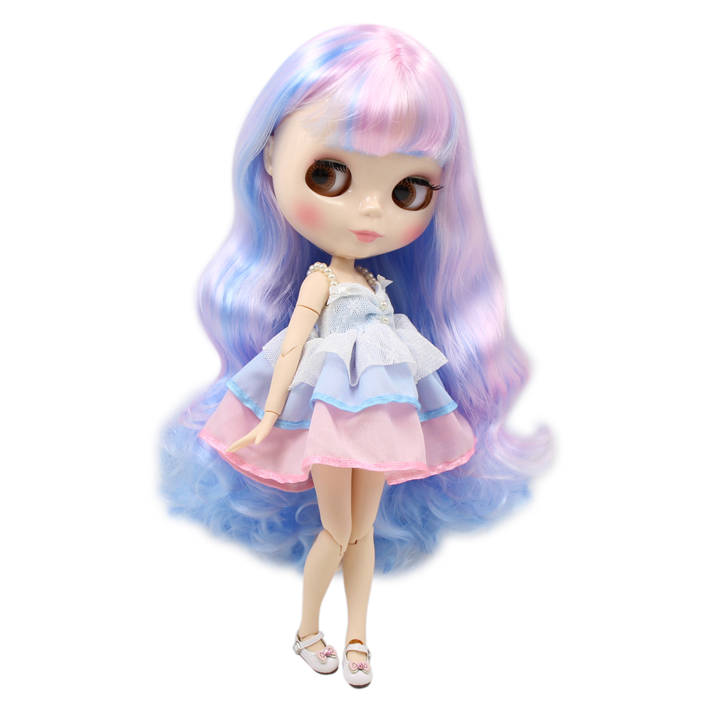 blyth joint doll factory nude doll 280BL1017 6005 New dream unicorn mixed color long curly hair