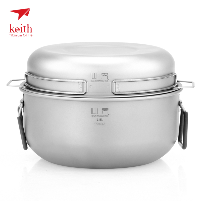Keith 3 pieces Titanium Pot Outdoor Camping Cookware Cooking Steam Pot Set Food Steamer Drawer Fry Pan For Fire Induction cooker