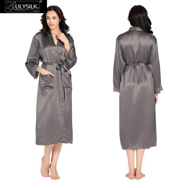 a375ed45082 Lilysilk Silk Long Robe Female Home Women Gowns 22 momme Dark Grey Luxury  Bathrobe Lace Cuff