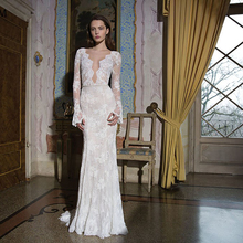 Verngo Lace Mermaid Wedding Dress V-back Elegant Gowns Sexy Bride V-neck 2019 Long Boho