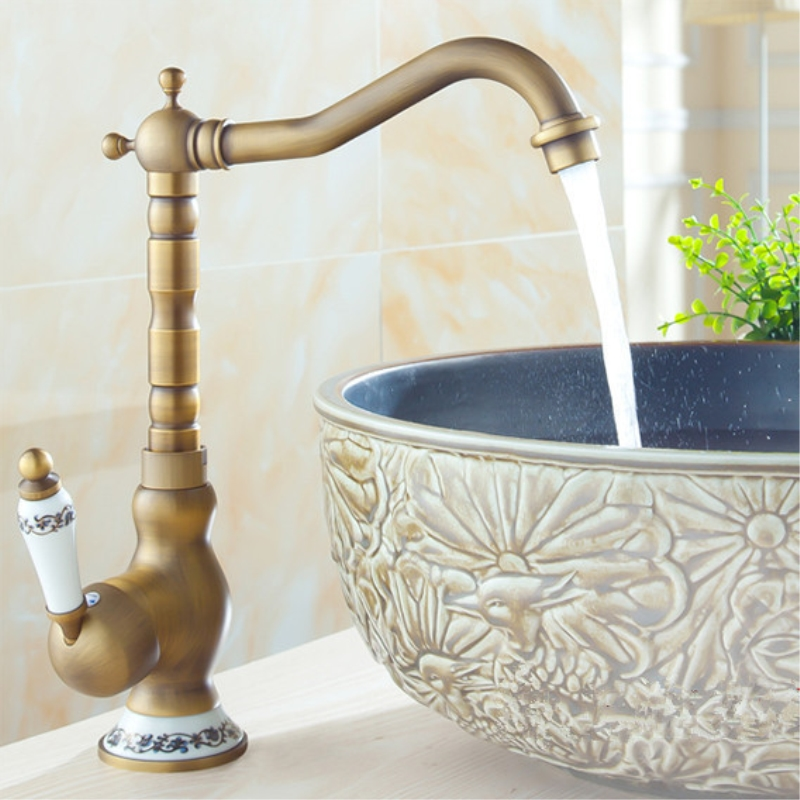 Bathroom Sink Basin Mixer Tap Brass Deck Mounted Basin Faucets WC Bathroom Faucet Antique Bronze Hot and Cold Water Tap 4411F bobbi brown eye definer brush кисть для макияжа глаз eye definer brush кисть для макияжа глаз