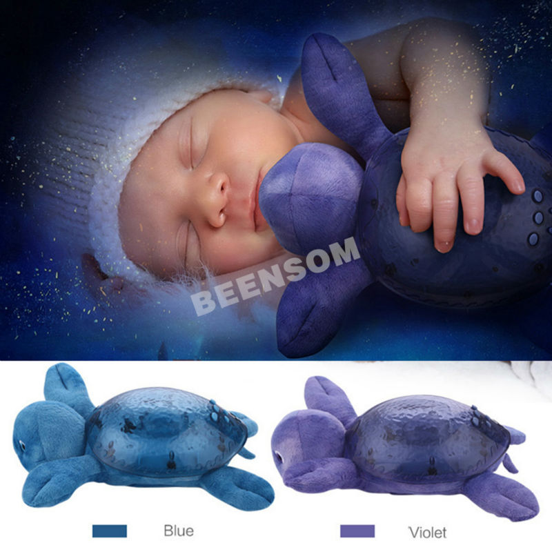 Musical Turtle Led Night Light Star Projector Blue Projection Lamp Sleep Lights as Children Gift for Baby Bedroom Decoration