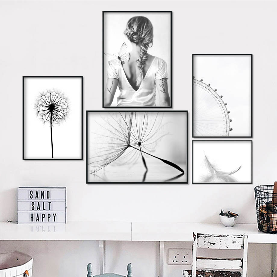 Dandelion Feather Butterfly Wall Art Canvas Painting Nordic Posters And Prints Black White Wall Pictures For Living Room Decor