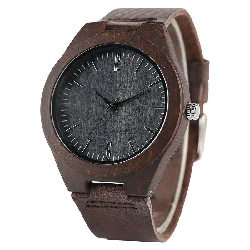 Minimalist Bamboo Wooden Quartz Watch Men Coffee Genuine Leather Band Fashion Nature Wood Women Creative Watches Handmade Gift
