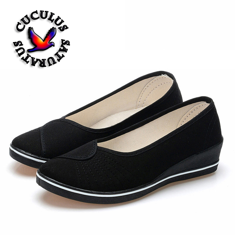 Cuculus Women Loafers Soft Slip On Canvas Flats Shoes Woman Solid Casual Breathable Shoe For Mother Platform Shoes 804 women sneakers light weight 2018 41 woman casual shoes slip on lazy shoes comfortable candy color breathable net shoe