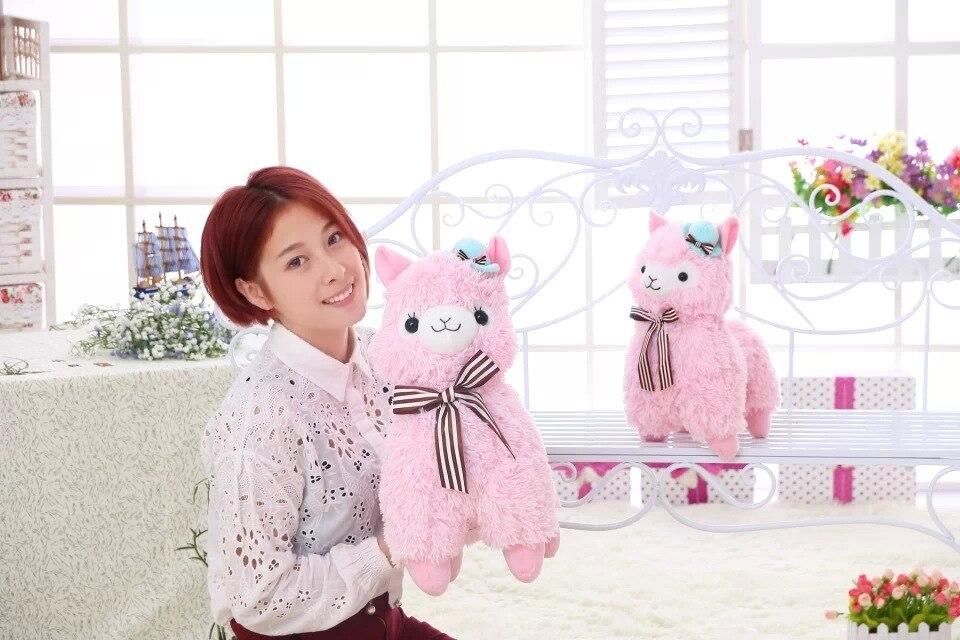 Nuevo blanco rosa 35 cm Alpacasso caballo de barro Topper sombrero Alpaca felpa juguete relleno encantador Animal ovejas Doll cumpleaños regalo para los niños