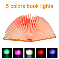 5 Colors Creative Foldable Pages Led Book Shape Night Light Lighting Lamp Portable Booklight Usb Rechargeable