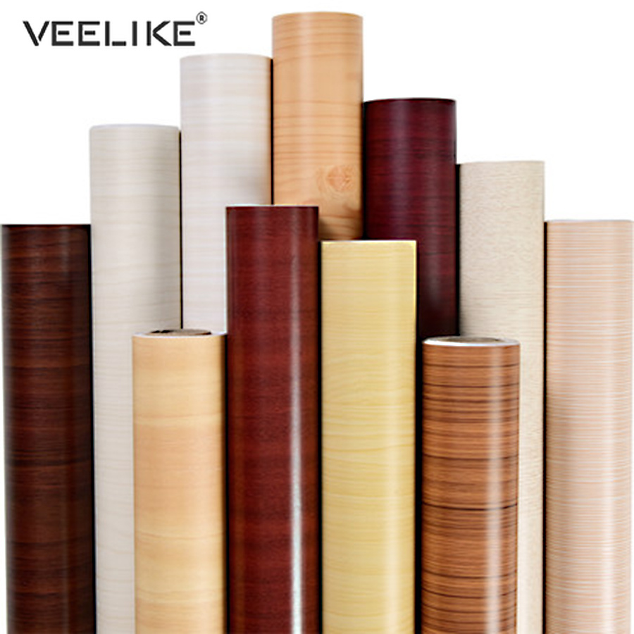 Living Room Desktop PVC Vinyl Self Adhesive Film Wood Wallpaper Roll Wardrobe Cupboard Door Furniture Waterproof Home Decoration