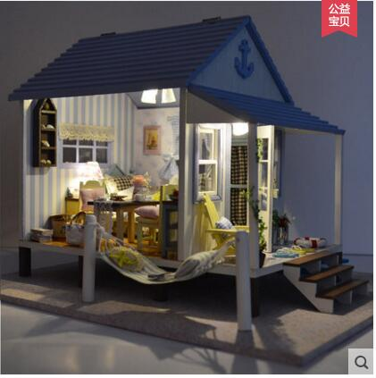 2017  Home Decoration Crafts DIY Doll House Wooden Doll Houses Miniature DIY dollhouse Furniture Kit Room LED Lights Gift toy home decoration crafts diy doll house wooden doll houses miniature diy dollhouse furniture kit room led lights gift a 012