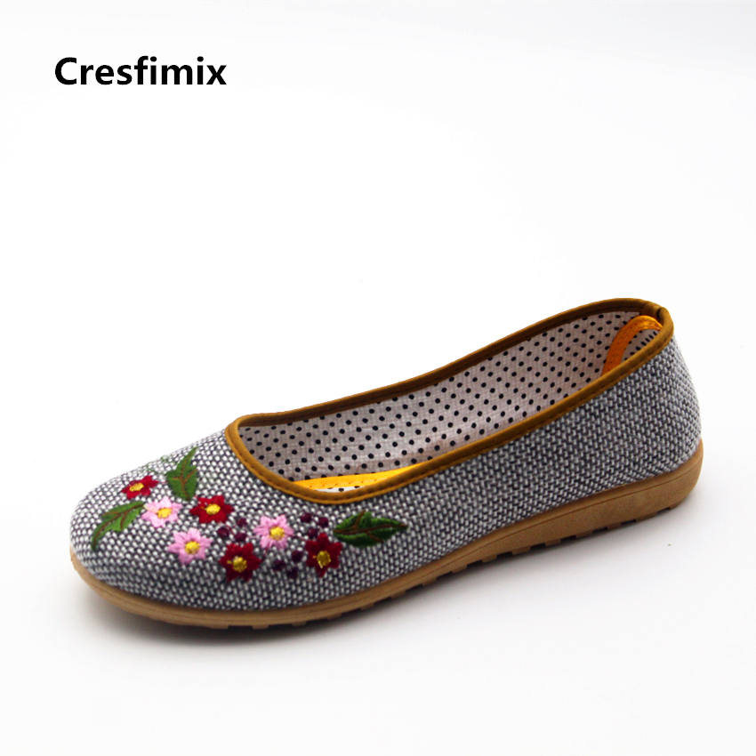 Cresfimix sapatos femininas women casual retro dance flat shoes female cute canvas comfortable flats lady leisure floral shoes cresfimix sapatos femininas women casual soft pu leather flat shoes with side zipper lady cute spring