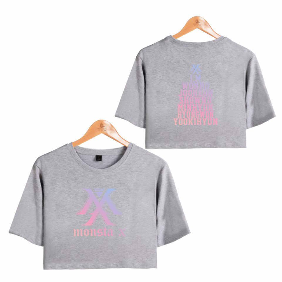 MONSTA X Hot グループ韓国女性の露出へそセクシーなショート tシャツ女性の Kpop ヒップホップ O ネック夏クール Tシャツプラスサイズ