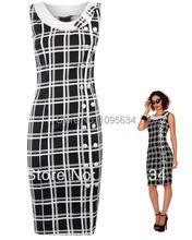 free shipping new black white Chiffon tartan pencil wiggle dress vintage 50 60 rockabilly party pin