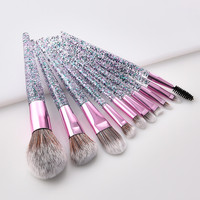 New Professional Makeup Brush Sets 10PCS Rubber Handle Sequined High-end Foundation Cosmetic Eyebrow Eyeshadow Brush Tools Eye Shadow Applicator