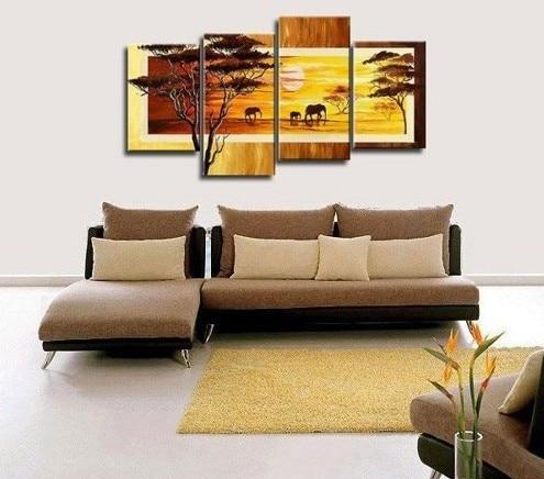 Envío gratis pintado a mano 4 piezas de arte de pared amarillo - Decoración del hogar