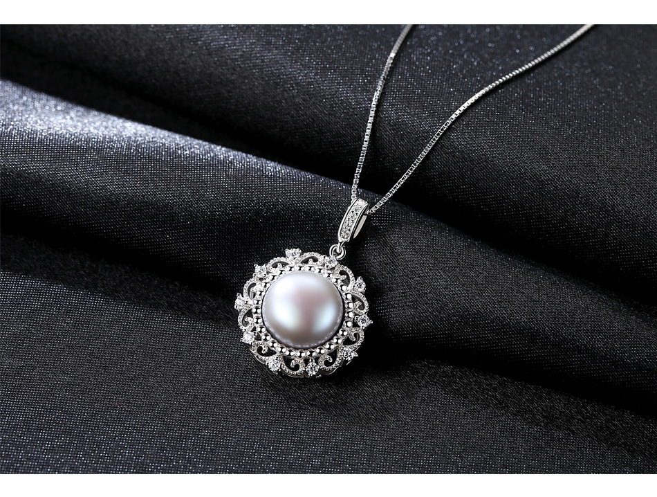 New sterling silver pearl necklace micro set zirconium Wild female clavicle necklace G04