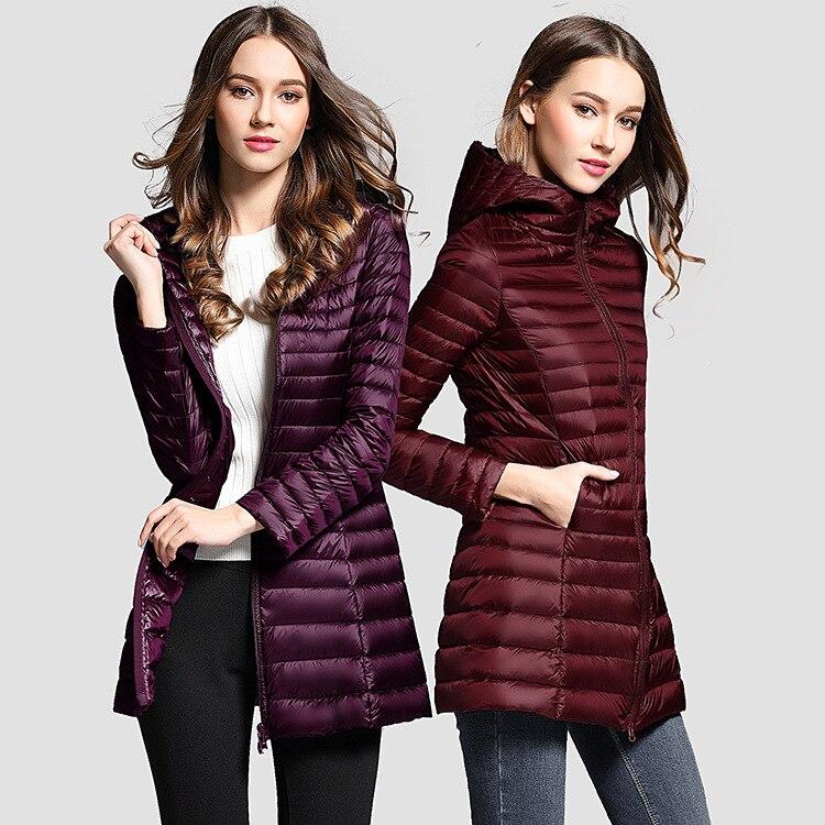 Licht dünne Unten Jacken mit hut weibliche Outdoor sport Laufen Wandern waten Warme unten jacke frauen