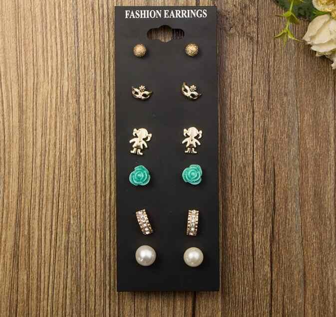 2018新しいファッションアクセサリー真珠のスタッドのイヤリングパックセット6 pairs birdicecream赤ちゃん平方花マスクギフト女性brincoギフト