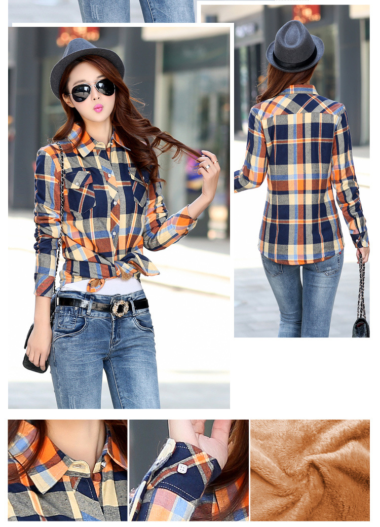 19 Brand New Winter Warm Women Velvet Thicker Jacket Plaid Shirt Style Coat Female College Style Casual Jacket Outerwear 19