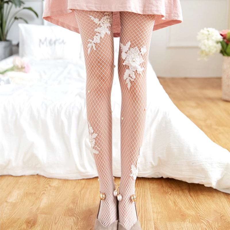 Causey Fashion Summer 2018 Women Fishnet Tights Sexy Elastic Embroidery Mesh Pantyhose Flower tight womens New Gift
