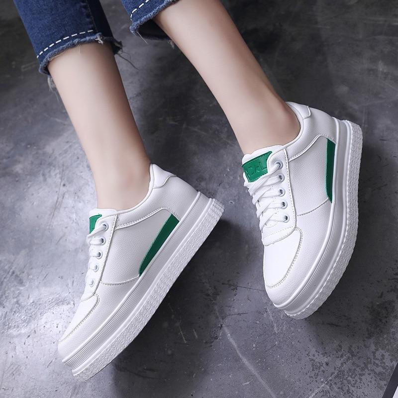 De Casual Clair Mixte Couleur Été Chaussures Avec Unie Blanc Nouvelle Épaisse vert Femmes Dentelle Mode 2018 Sauvage Plates TIqOwSI