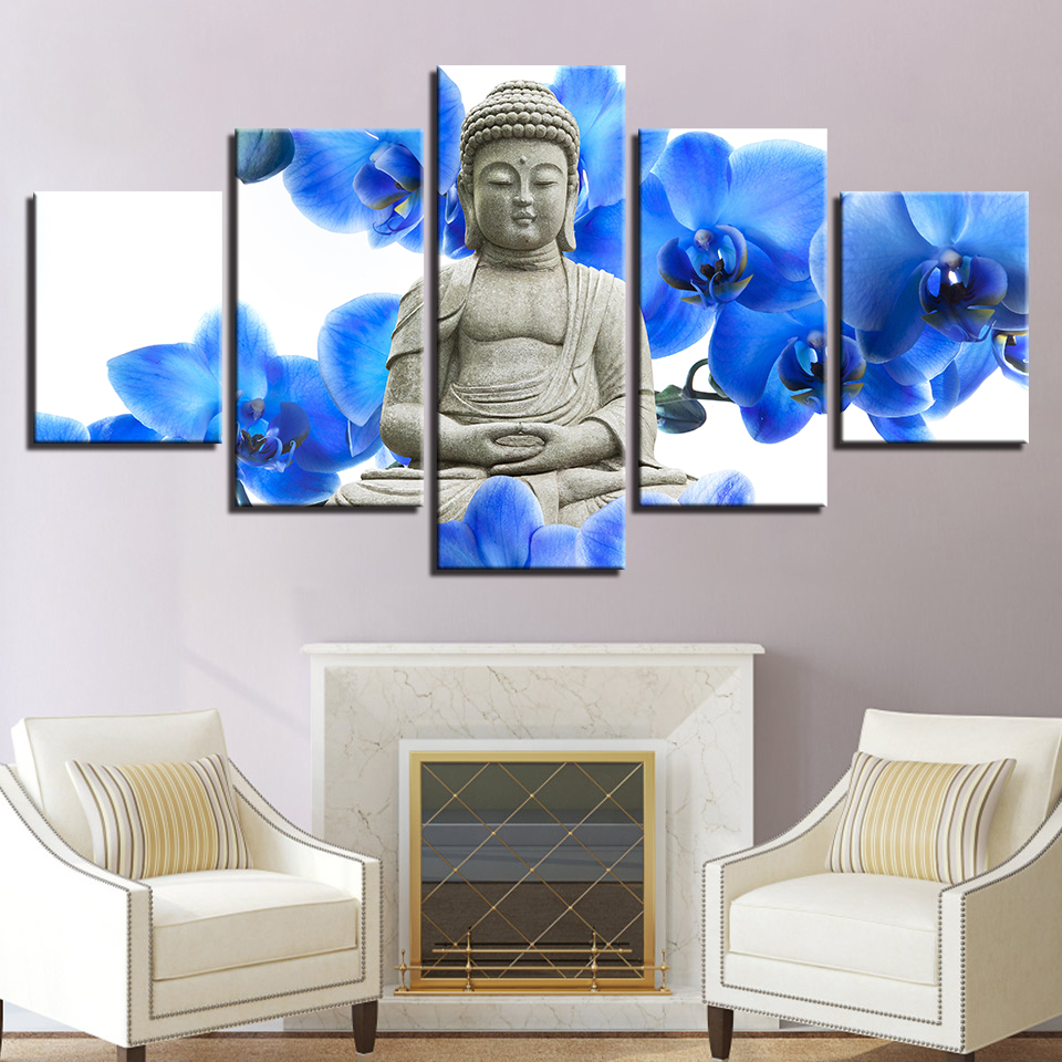 Framed Home Decor Canvas Print Painting Wall Art Buddha: Home Decor Canvas HD Print Wall Art Picture 5 Piece Buddha