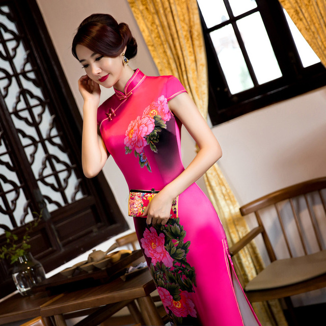 elegant silk vintage chinese traditional plus size for women long cheongsam  chinese ladies cheongsam dress with embroidery 68b8882efd0c