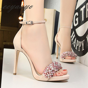 Image 4 - 2019 New Summer Women Sandals High Thin Heel Buckle Solid Pearl Fashion Sexy Ladies Women Shoes Pink Female High Heels Sandals